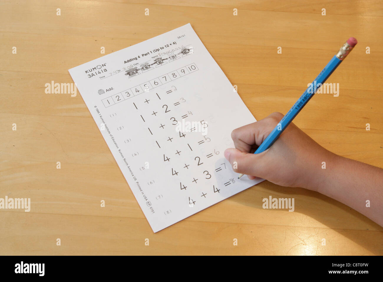 Kumon Math Exercise Worksheet Stock Photo