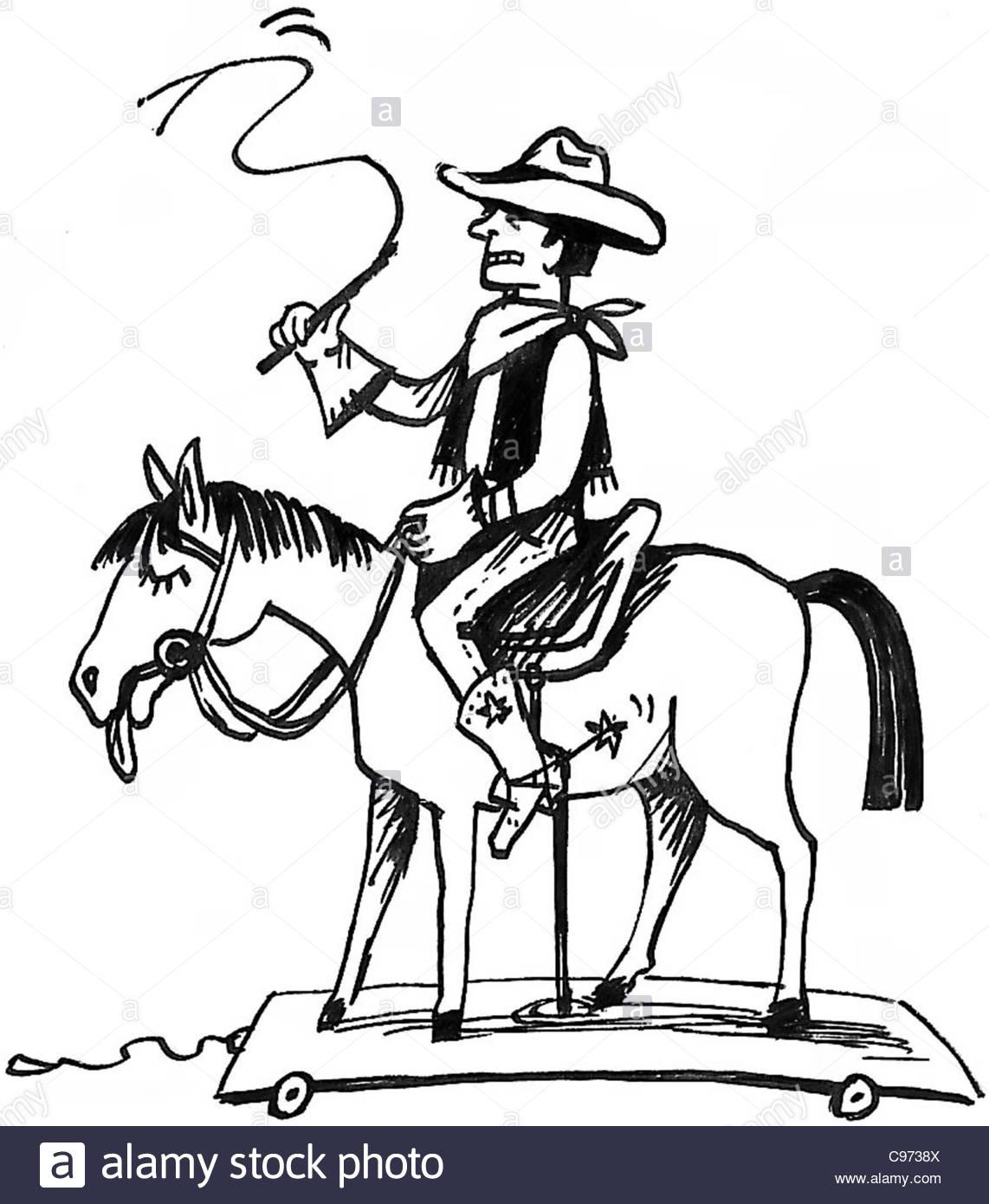 Cowboy on toy horse stock image