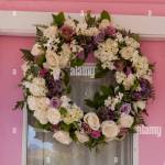 Summer Wreath On The Door Of The Pink House Historical Dollhouse Row Stock Photo Alamy