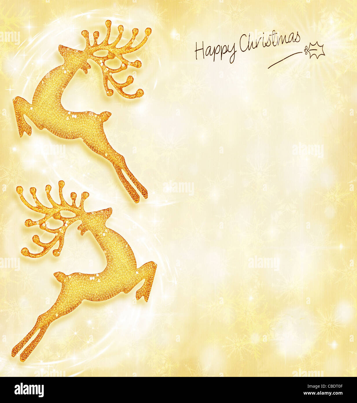 New Year holiday card  golden background  reindeer decorative border     New Year holiday card  golden background  reindeer decorative border   traditional tree ornament  abstract shiny glowing lights