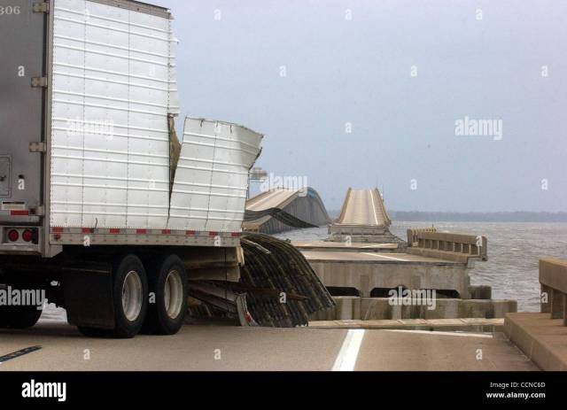 State A Tractor Trailer Rig Sits Apparently Torn In Two On Interstate 10 Over Escambia Bay The Interstates East Bound Lanes Were Severed By Hurricane