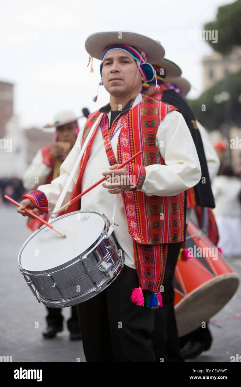 latin american carnival in rome music color fun man playing musical