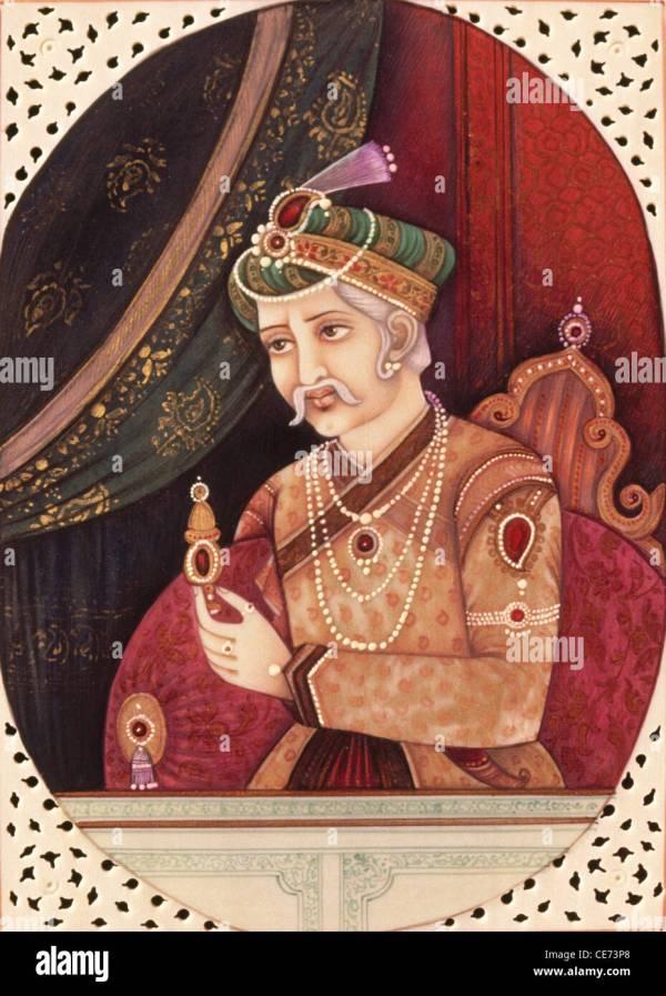 miniature Painting of Mughal Emperor Akbar Stock Photo