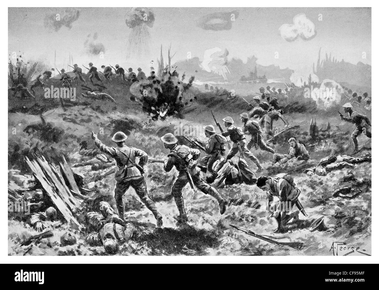 Rifle Men Sol Rs Charge Crossing No Man S Land Somme