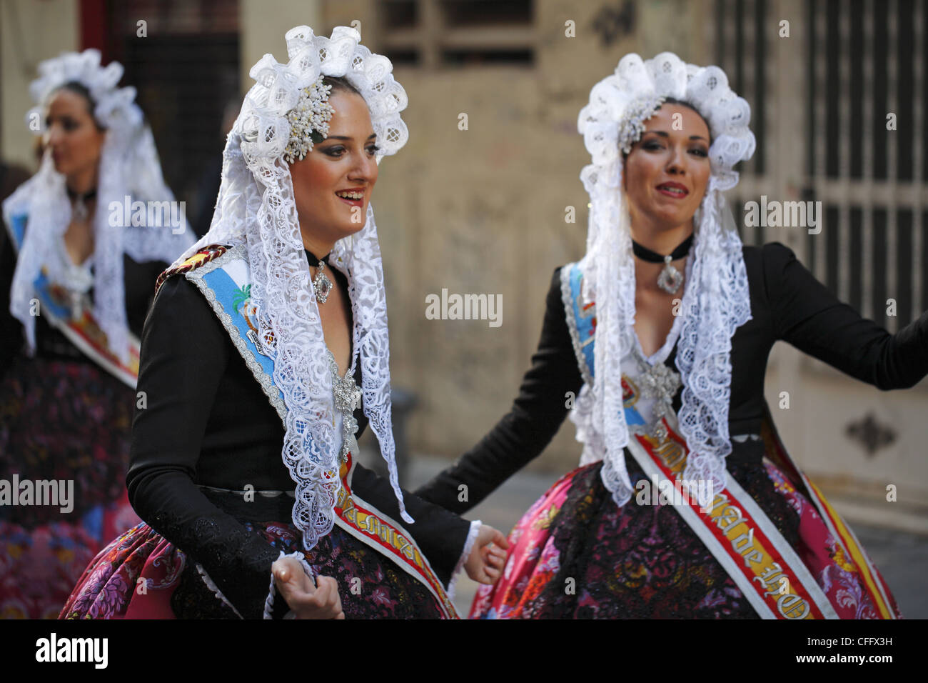 Spanish Women Wearing Traditional Clothes During The