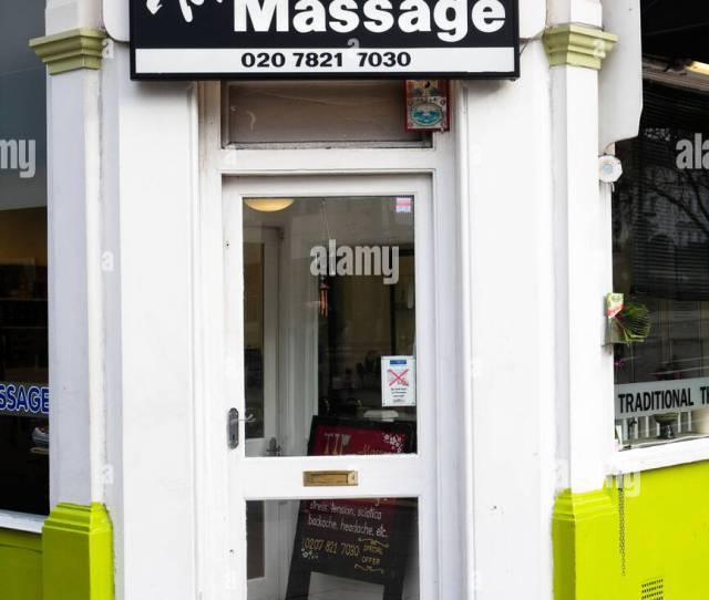 Entrance Of A Thai Massage Parlour London Uk Stock Image