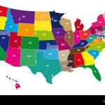 Multicolor Bordering Geographical Map Of Usa With Bordering Lines And Stock Photo Alamy