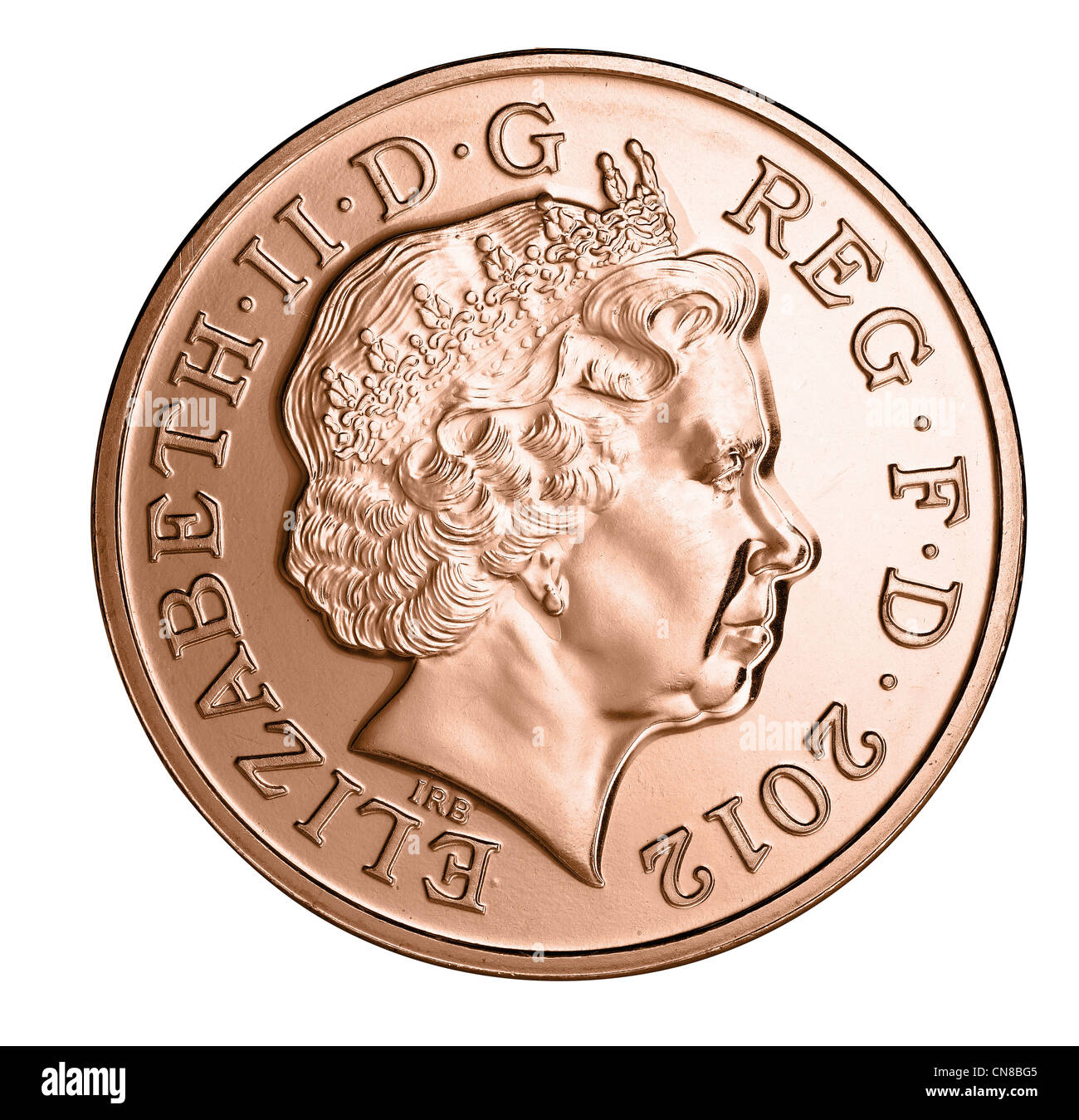 2p Two Pence Coin Head On Heads Obverse Stock Photo