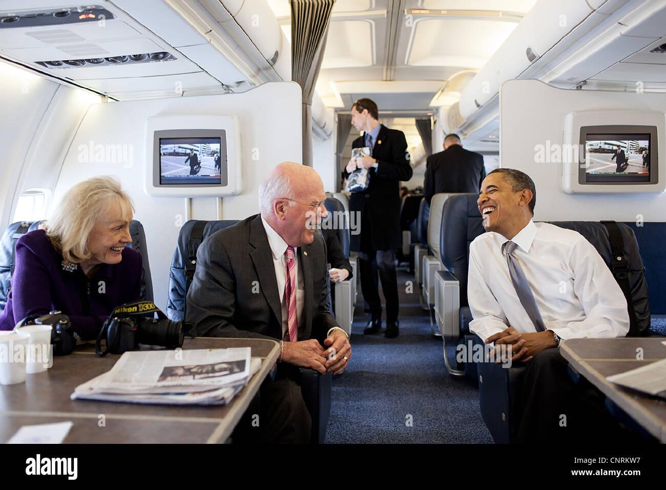 President Barack Obama Talks With Senator Patrick Leahy