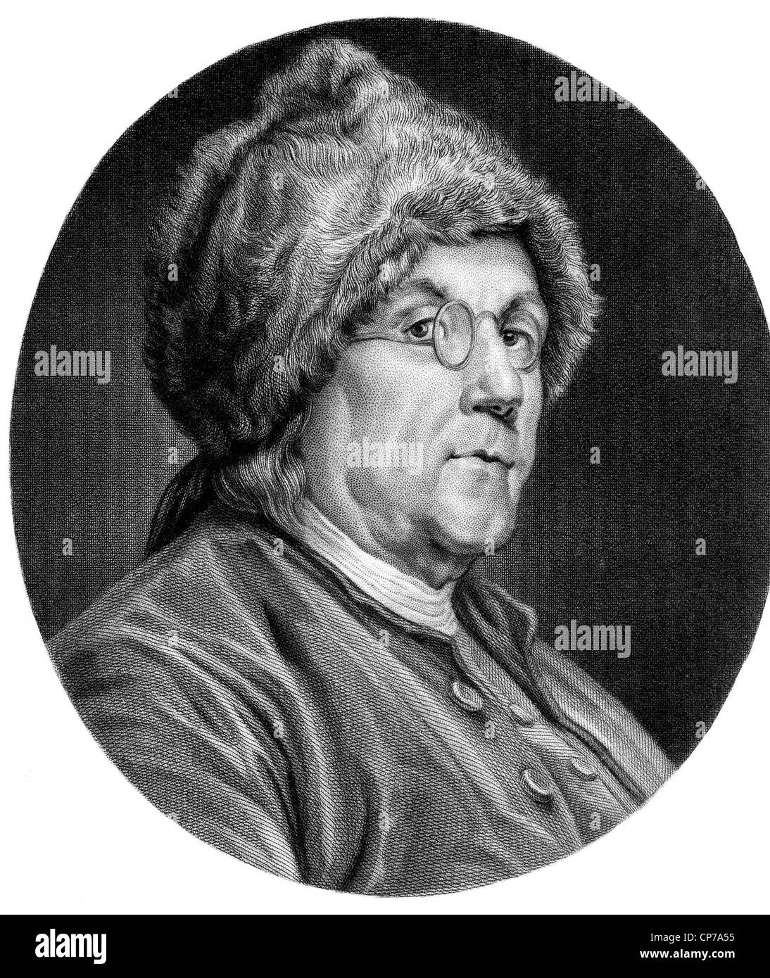 Portrait Of American Founding Father Benjamin Franklin In