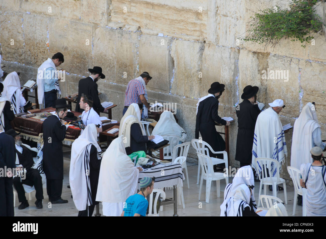 Jew People Worship For The Western Wall In Jerusalem