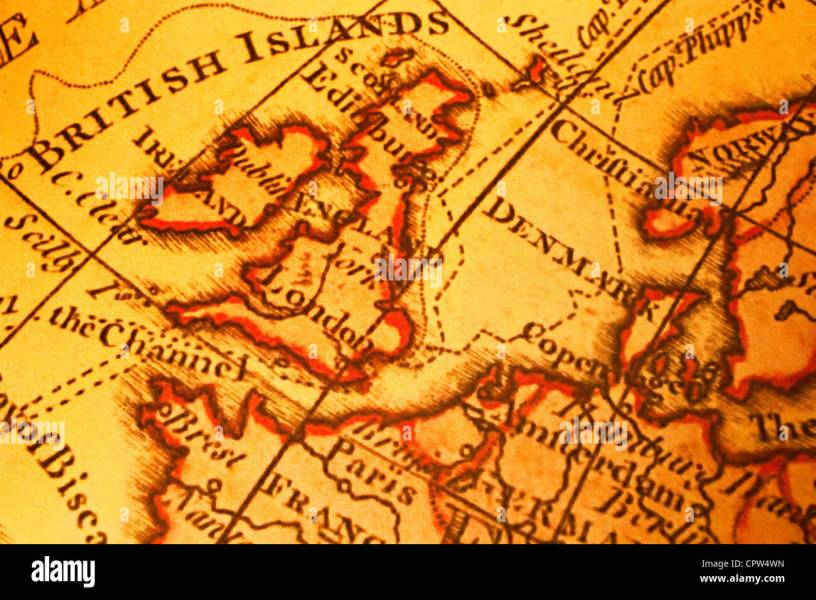 Map Of Britain Stock Photos   Map Of Britain Stock Images   Alamy Old map of Britain British Isles UK United Kngdom and Northern Europe  Map  is from