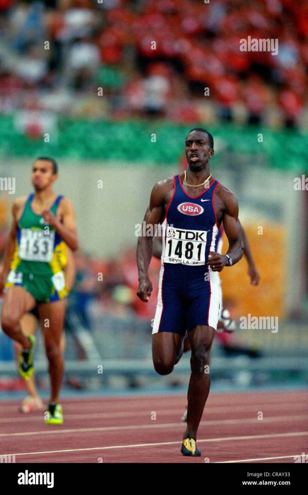 Michael Johnson (USA) breaking the world record (43.18) in ...