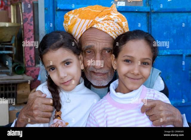 Old Man And Young Girls Haraz Mountains Manarkha Al Mahwit Yemen