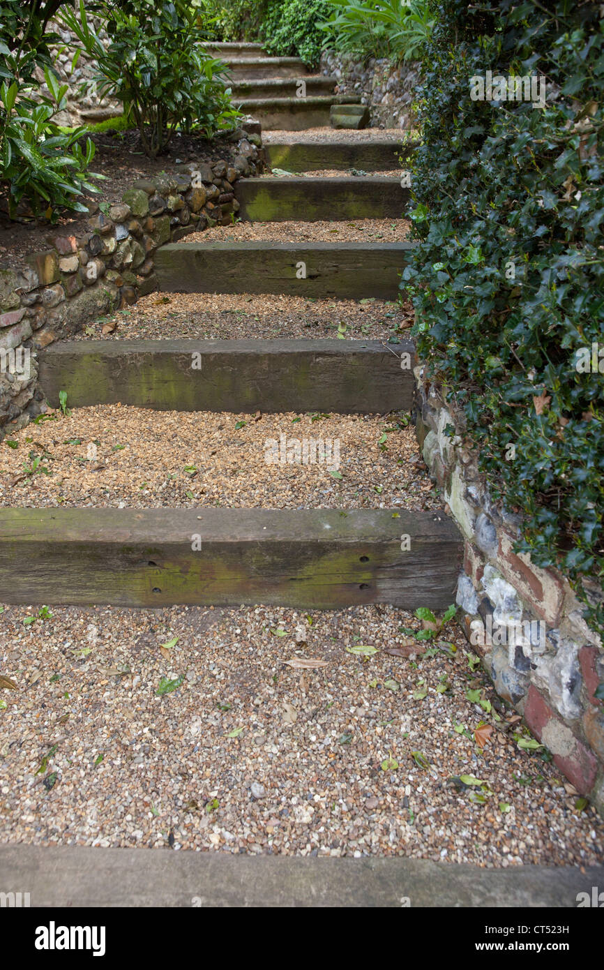 Garden steps leading uphill - Gravel covered steps made ... on Uphill Backyard Landscaping Ideas id=81525