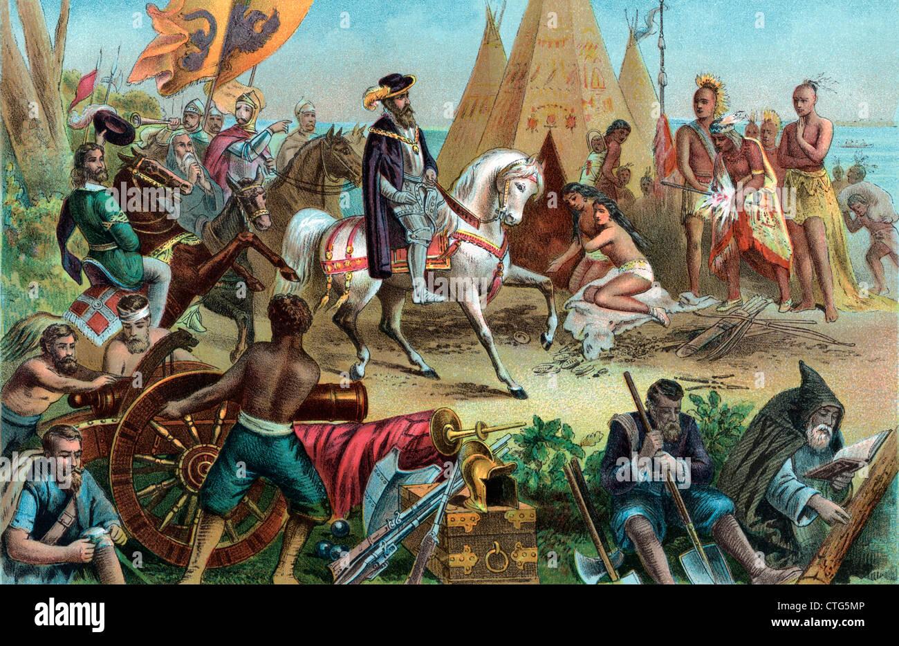 S Spanish Explorer Hernando De Soto Discovering The Mississippi Stock Photo Royalty Free