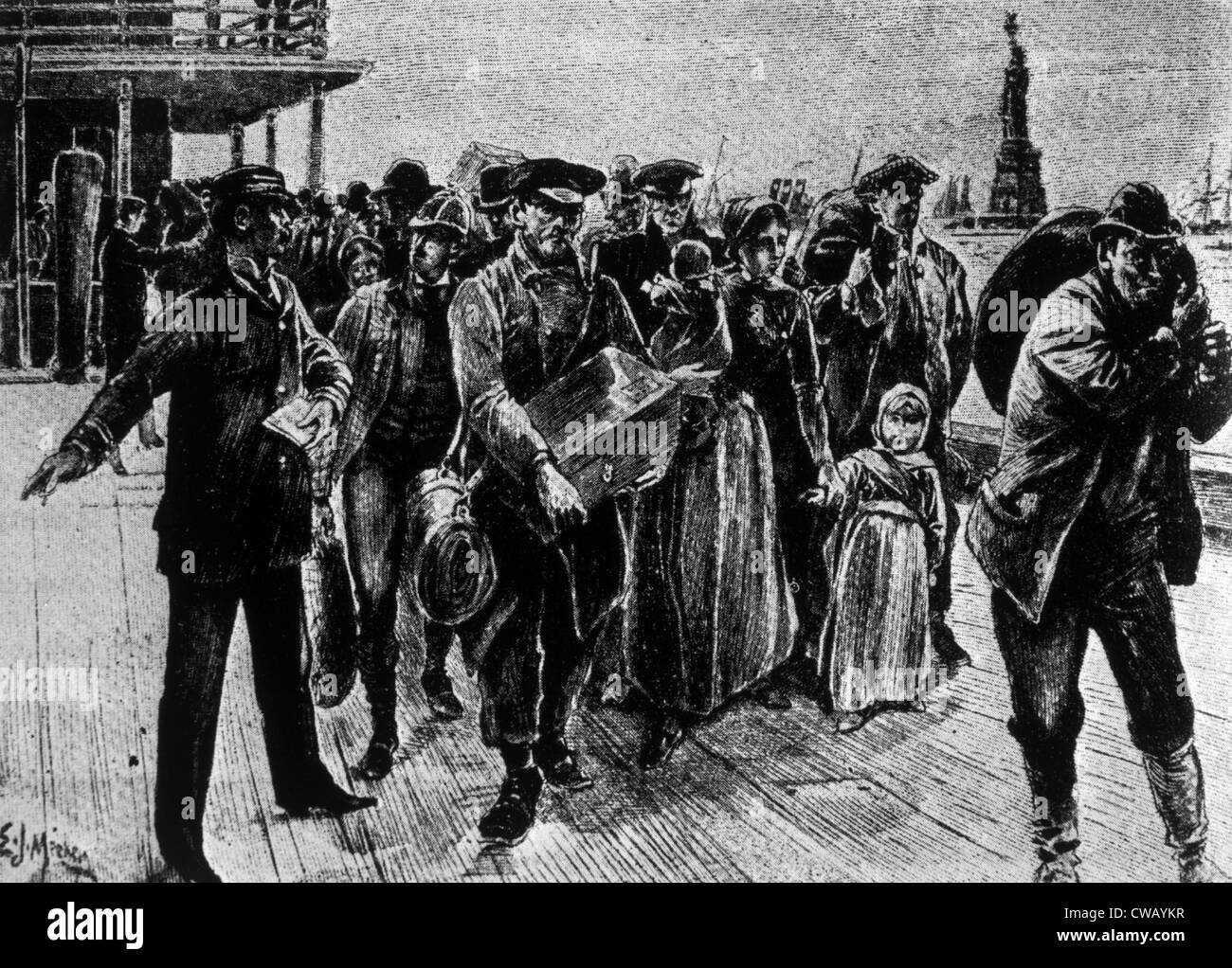 Immigrants Arriving In New York City In The Late 19th