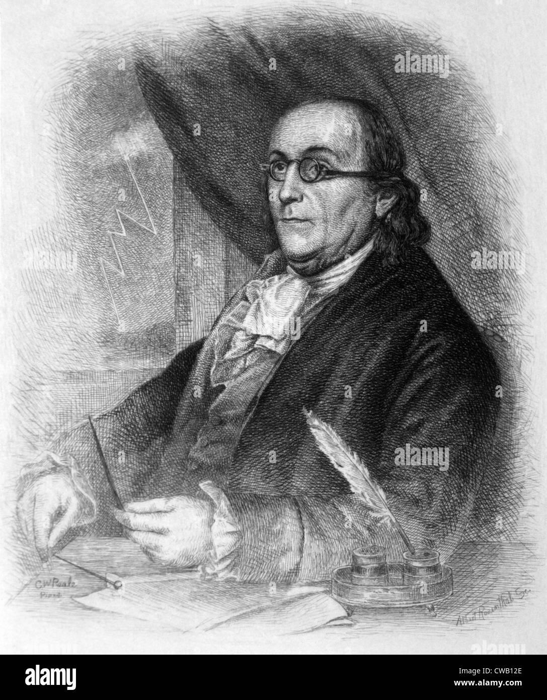 Benjamin Franklin Engraving Stock Photo
