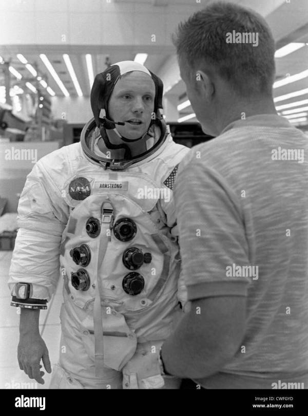 NASA Astronaut Neil Armstrong talks with astronaut Don