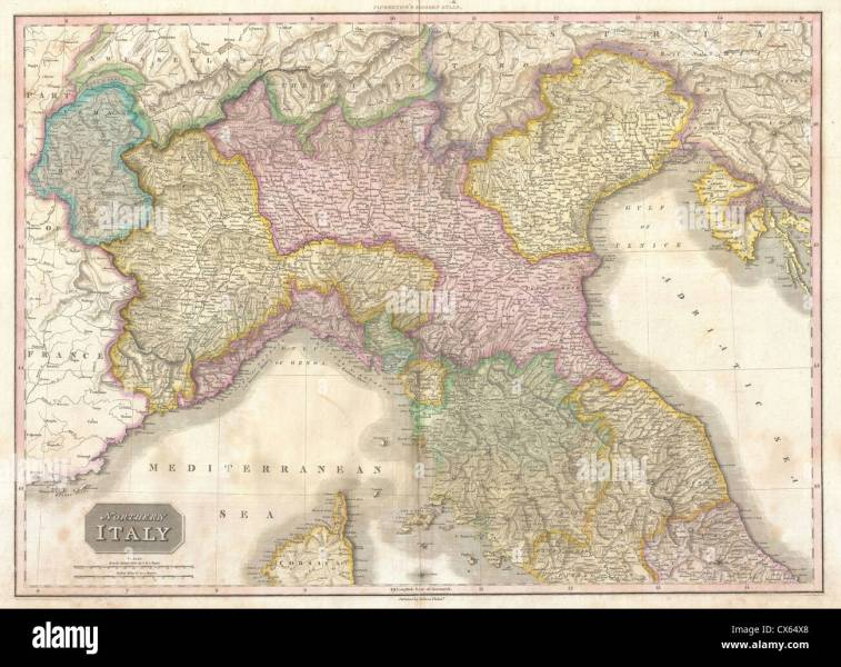 1818 Pinkerton Map of Northern Italy   Tuscany  Piedmont  Milan     1818 Pinkerton Map of Northern Italy   Tuscany  Piedmont  Milan  Venice
