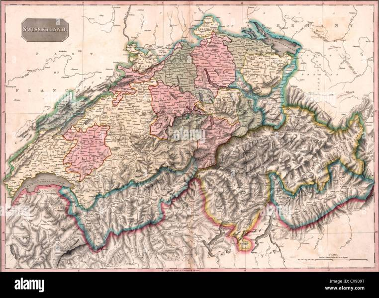1800s Map Stock Photos   1800s Map Stock Images   Alamy Swisserland 1818  Switzerland Map   Stock Image