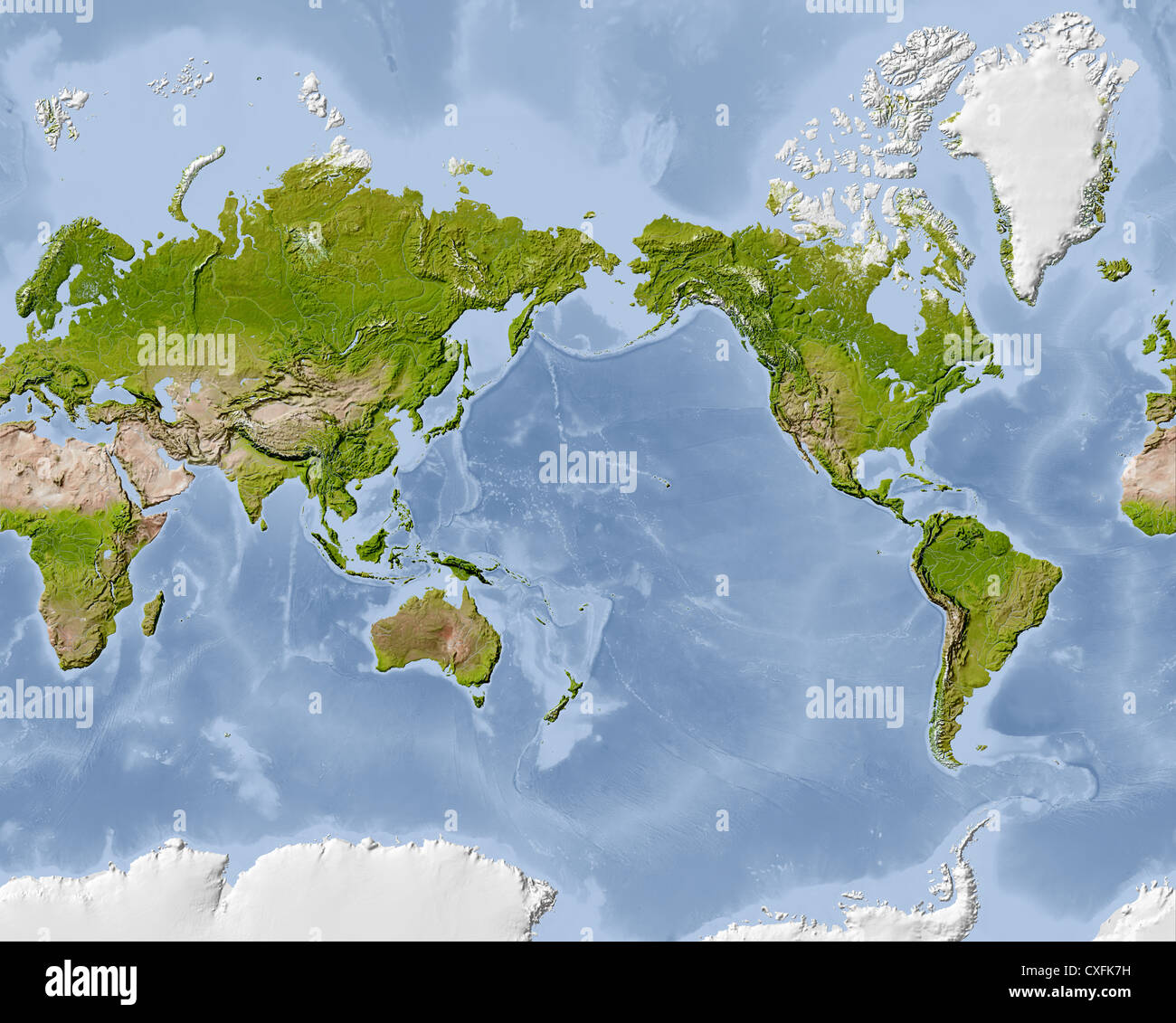World Map Shaded Relief Map Centered On The Pacific