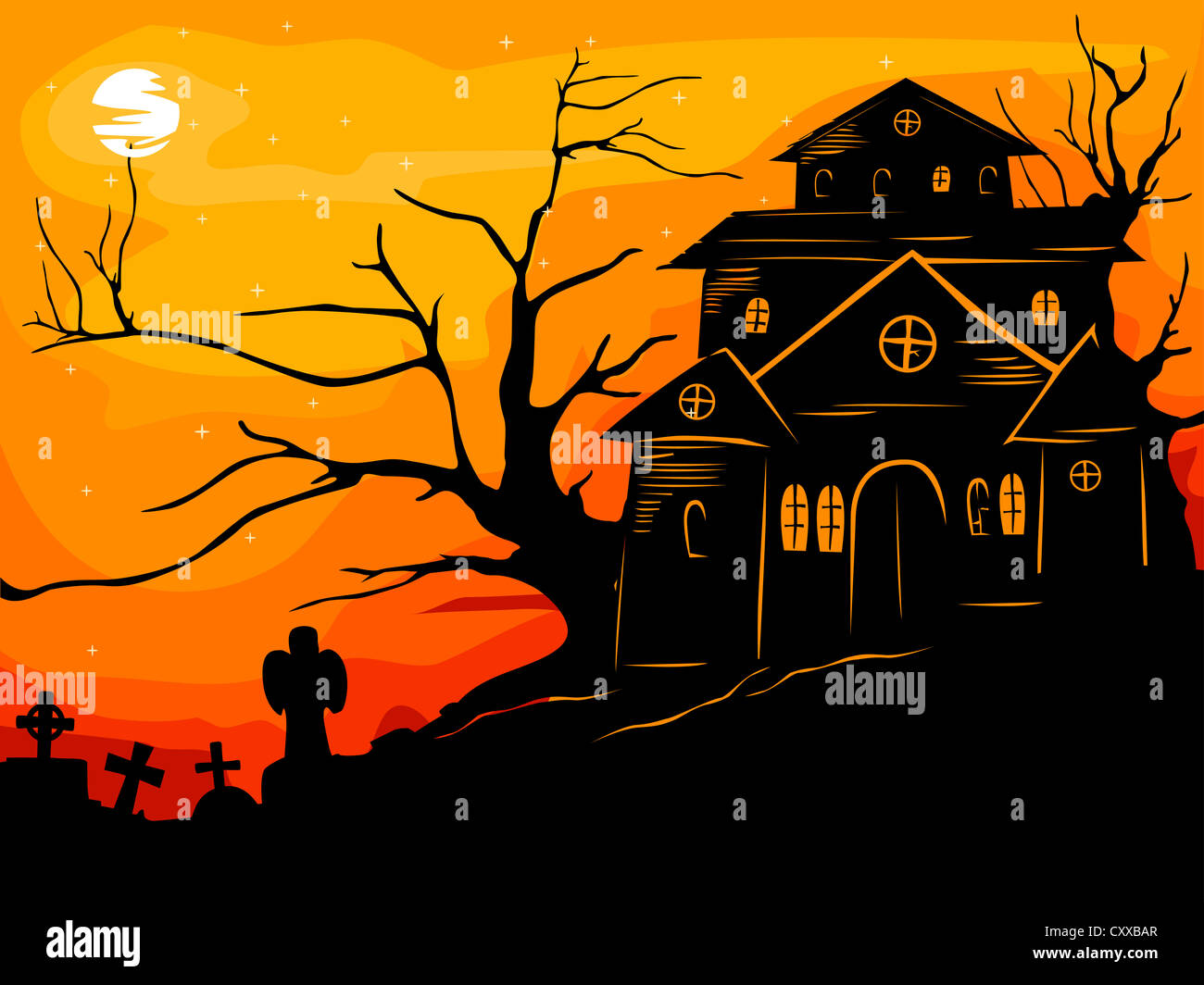 Halloween Illustration Featuring The Silhouette Of A