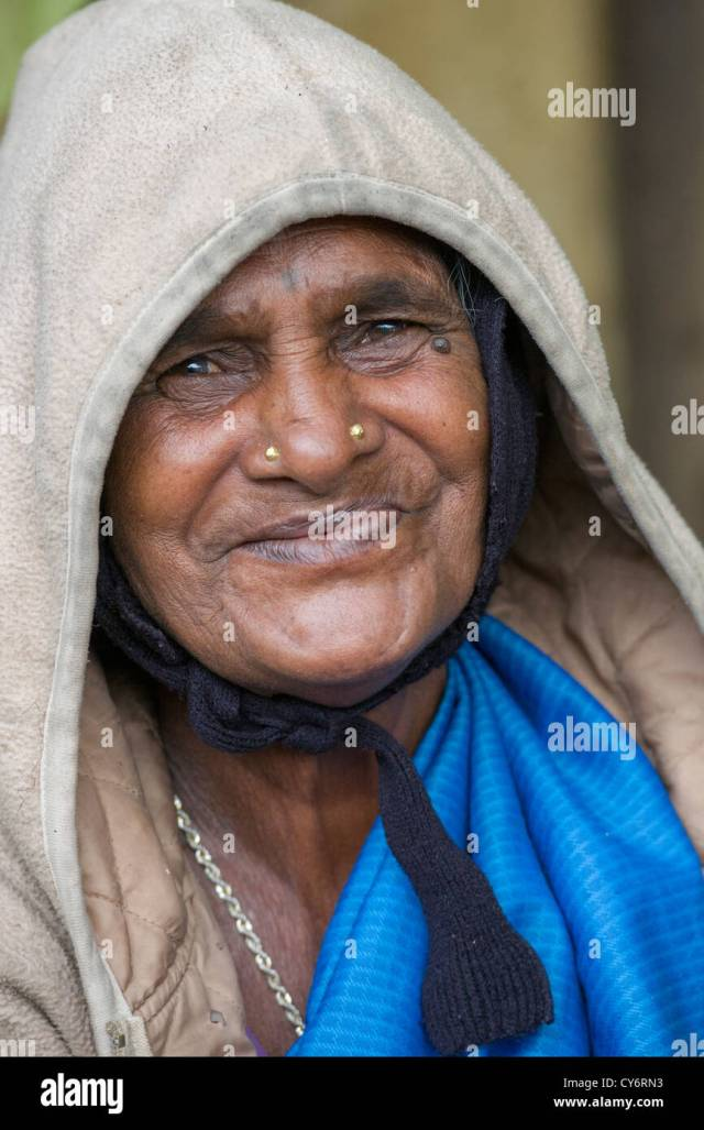 Portrait Of An Old Toothless Woman Smiling At A Foodstall Near Munnar Kerala India