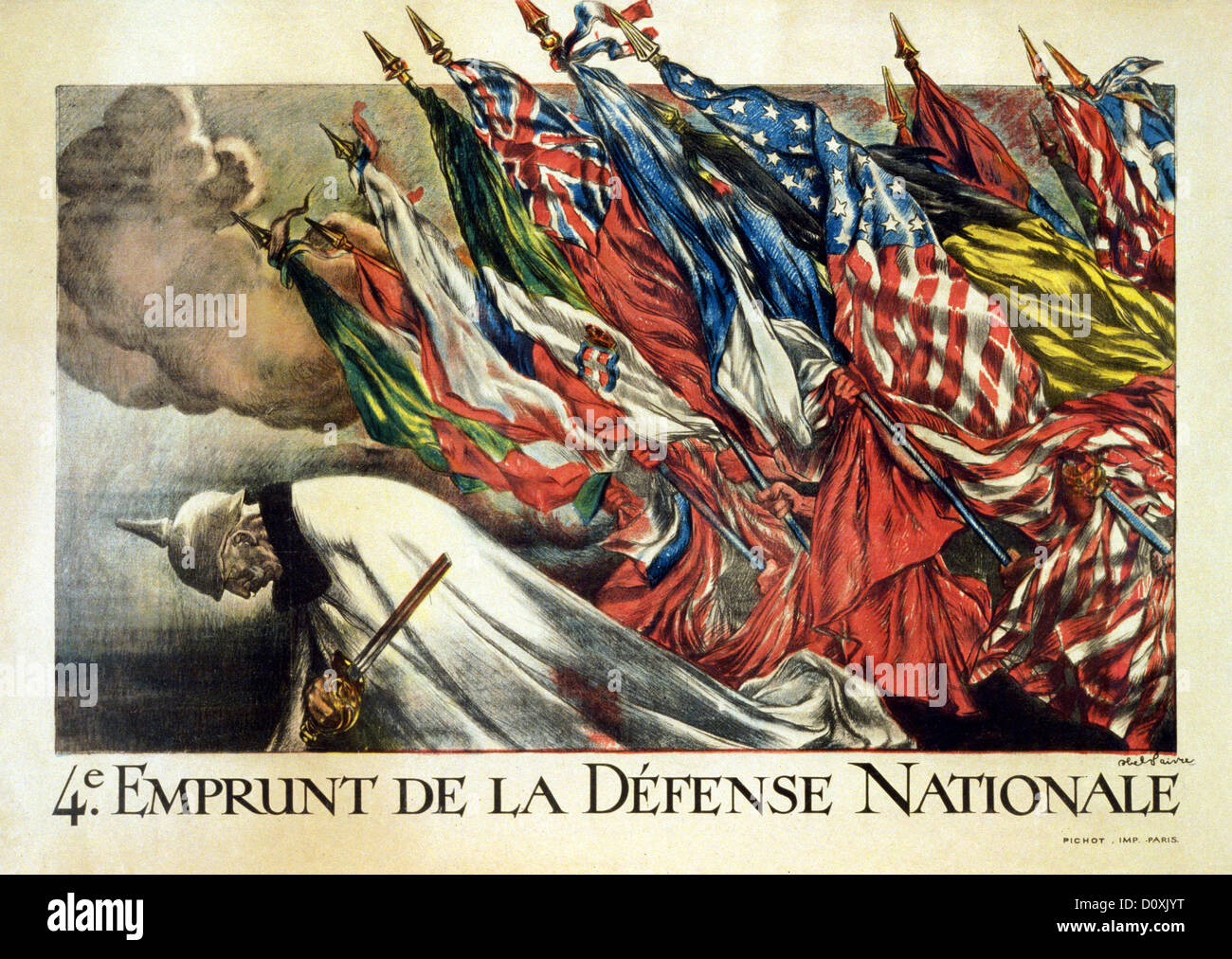 World War I French Propaganda Poster Allied Flags