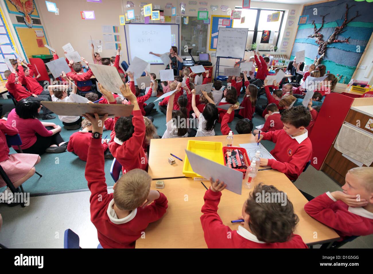 Primary Junior School Mathematics Maths Class Hands Up
