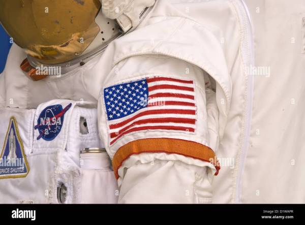 NASA astronaut space suit with American flag arm patch ...
