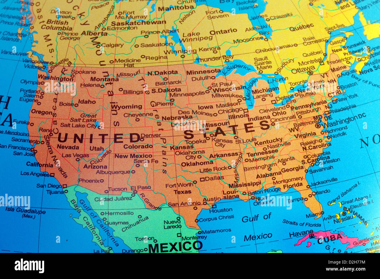 A Usa Map Of The United States Of America From A Globe