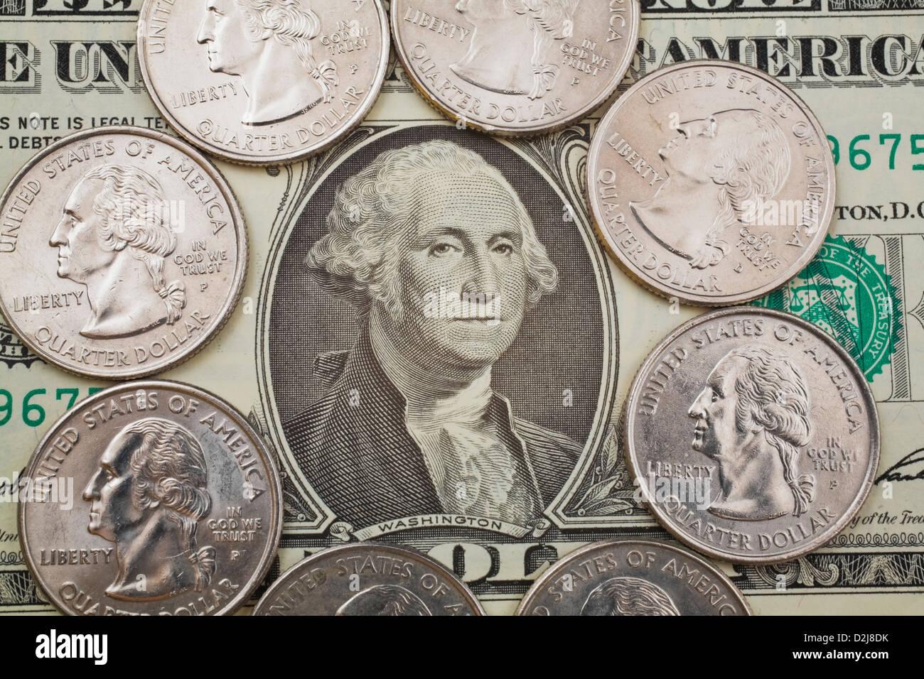 Portrait Of George Washington On A Us One Dollar Bill And