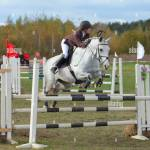 Professional Rider Jumping With White Horse Over Obstacle Stock Photo Alamy