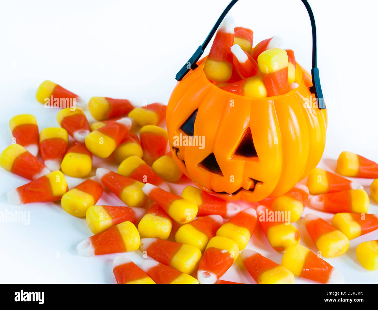 Fold the bag in half with the right sides facing you and match up the color strips. Halloween Treat Bag Filled With Candy Corn Candies On White Background Stock Photo Alamy