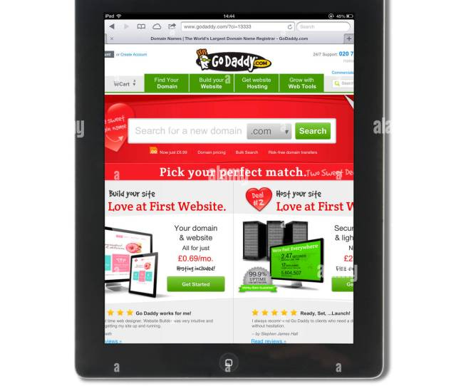 The Domain Registration And Web Hosting Site Go Daddy Viewed On A 4th Generation Ipad
