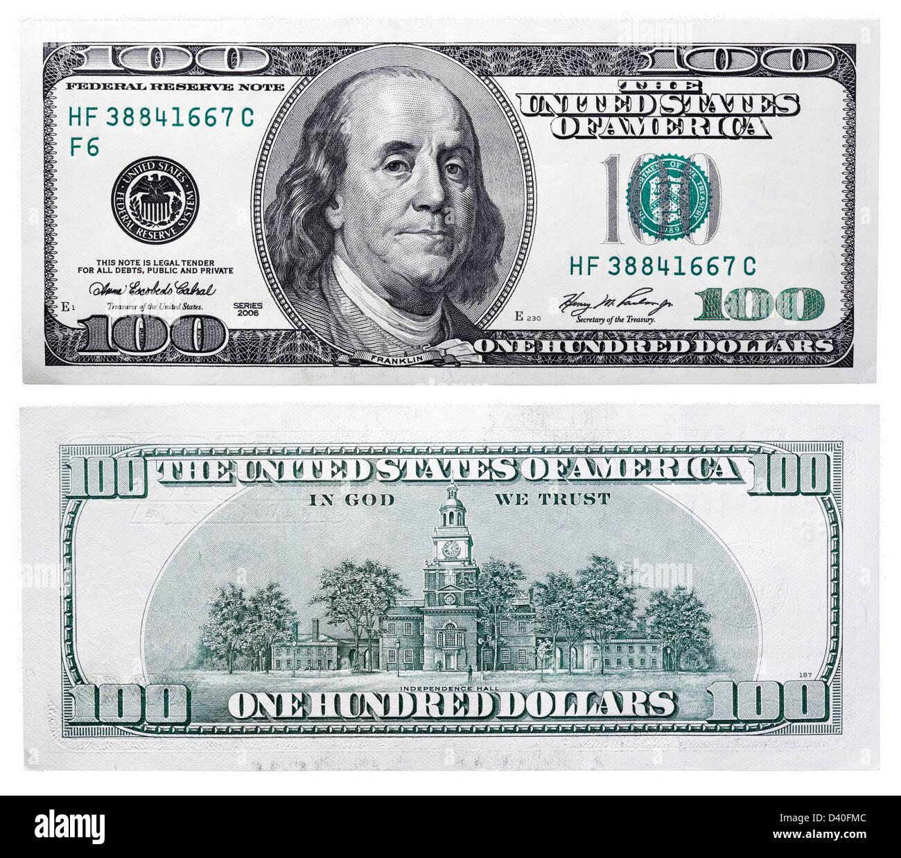 100 Dollars Banknote Benjamin Franklin And Independence
