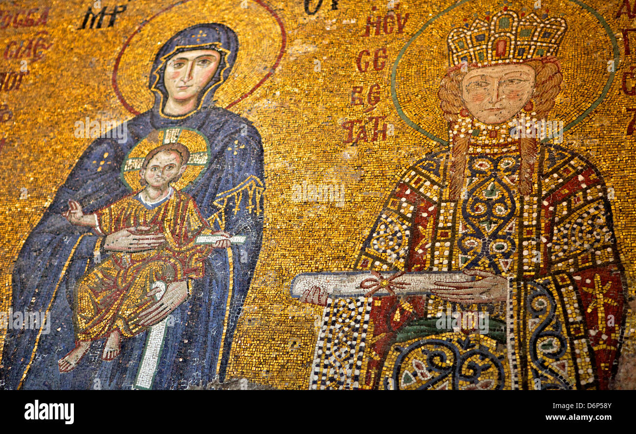 Mosaic Of Virgin Mary And Infant Jesus Christ In The Hagia Sophia Stock Photo Royalty Free