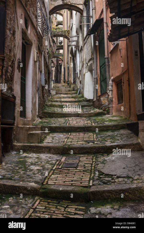 Narrow pedestrian street in the old city of Sanremo (San ...