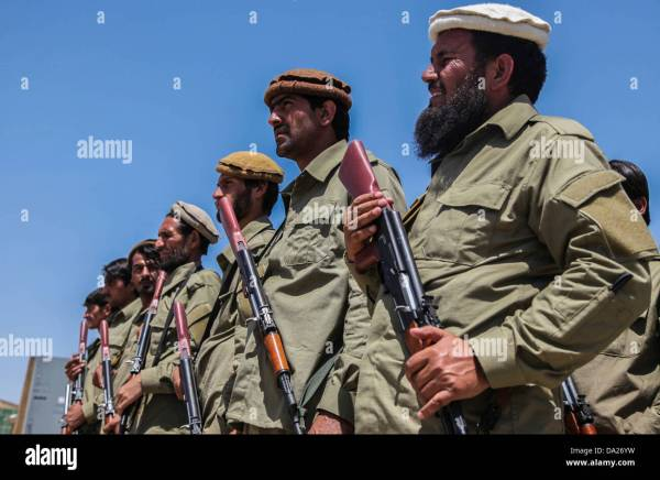 Members of an Afghan Local Police (ALP) stand in formation ...