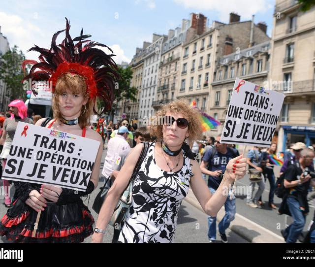 French Transgender Activists Take Part In The Gay Pride Parade In Paris France