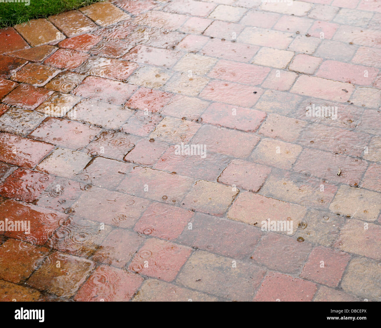 https www alamy com stock photo heavy raindrops splashing on rustic red brick patio paving in uk garden 58667362 html