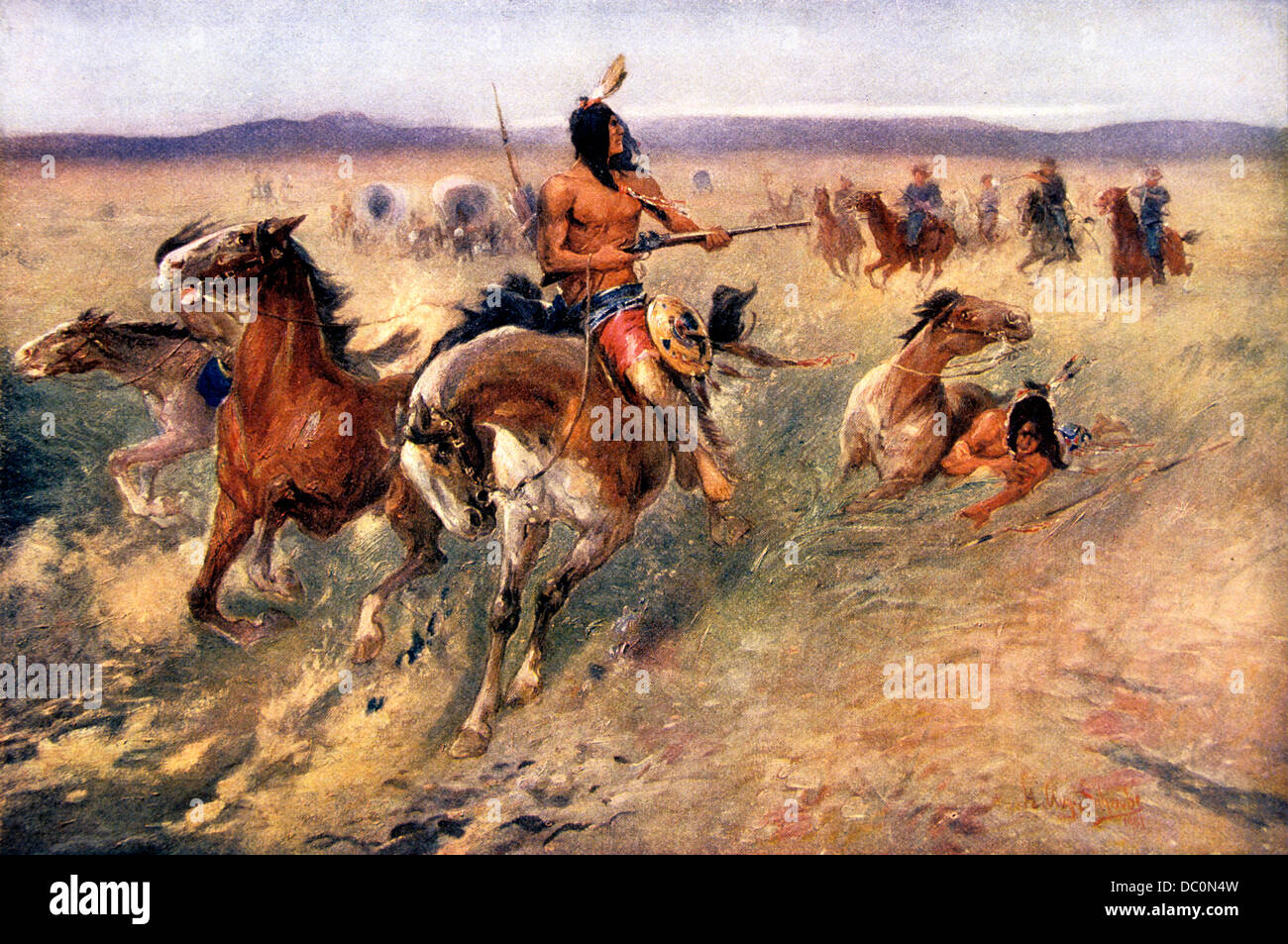 S S S Plains Indians Being Pursued By U S