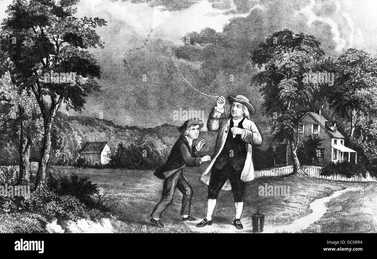 S June Benjamin Franklin Out Flying His Kite In