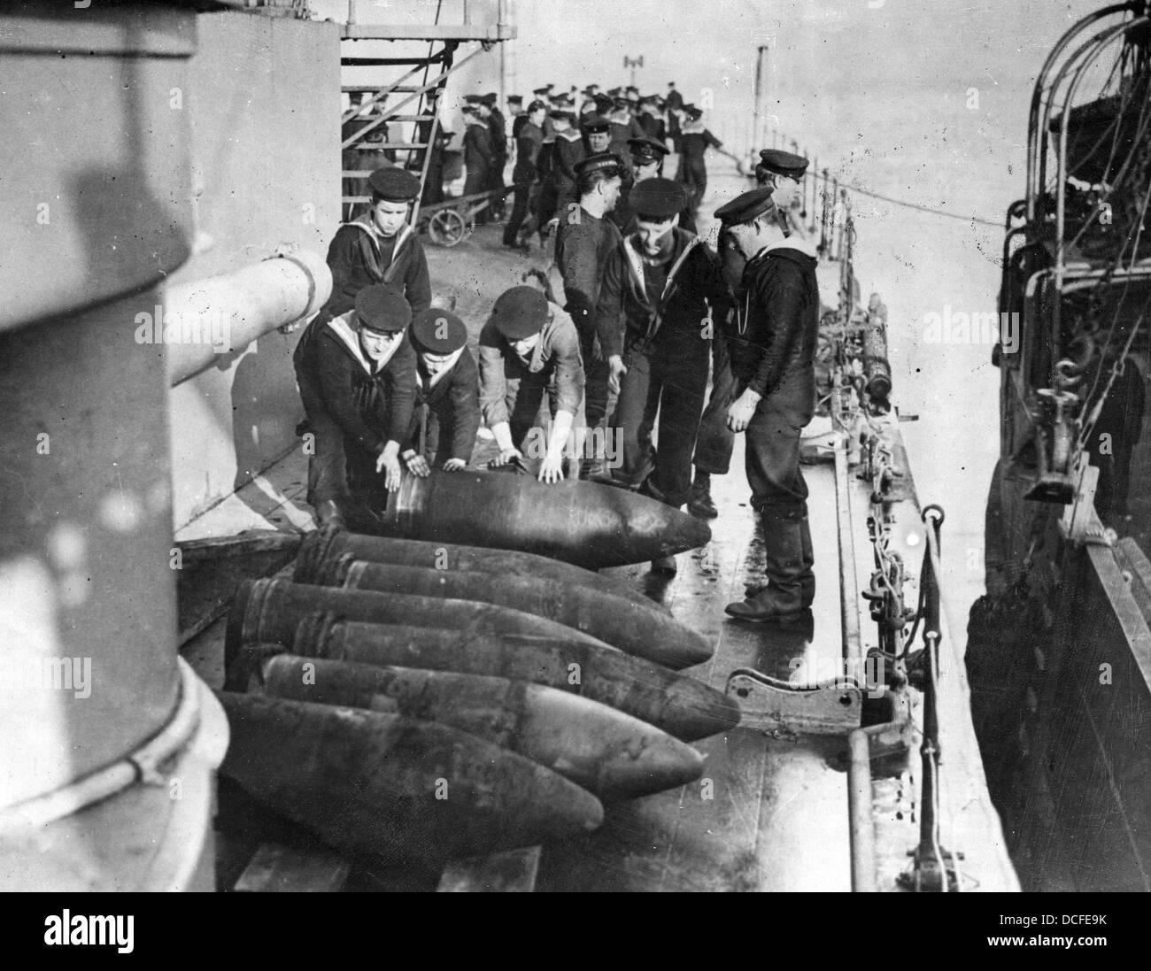Great War Ww1 Royal Navy Sailors Prepare Shells On A Battleship Stock Photo Royalty Free Image