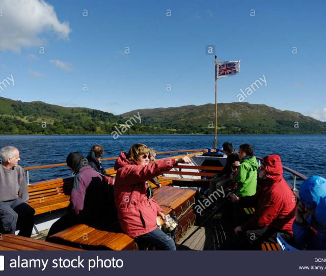 Boat Trip With Tourists Ullswater Lake Lake District National Park Penrith Cumbria Uk