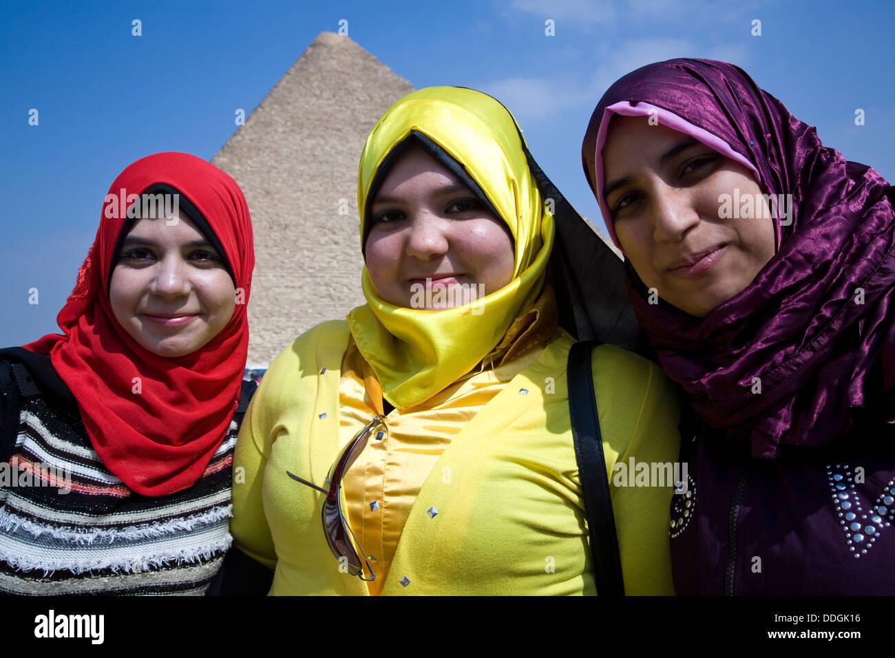 Moslem High School Girls Visiting The Pyramids Of Giza