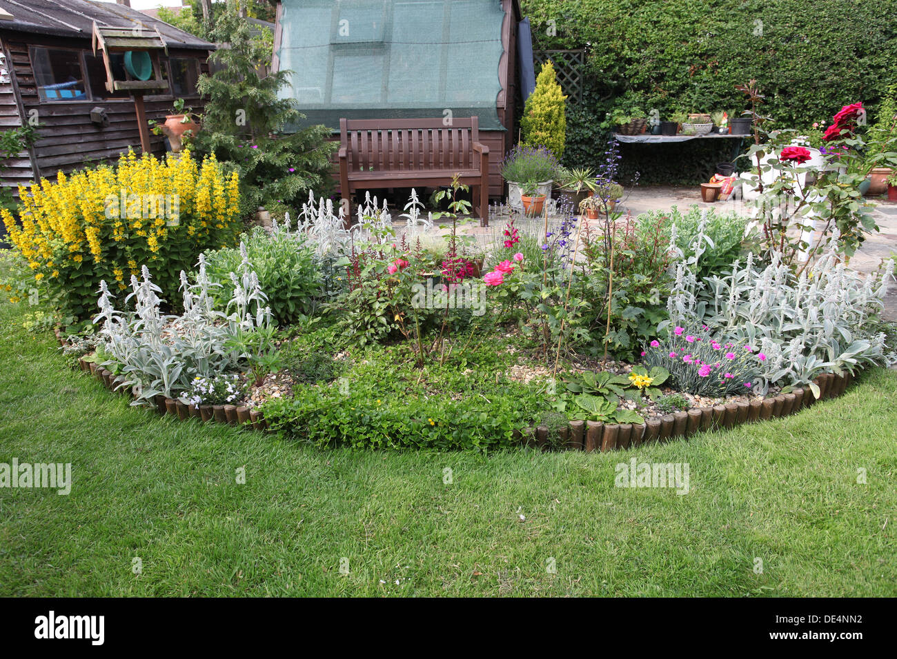 Flower Bed In Half Moon Shape In English Garden Stock