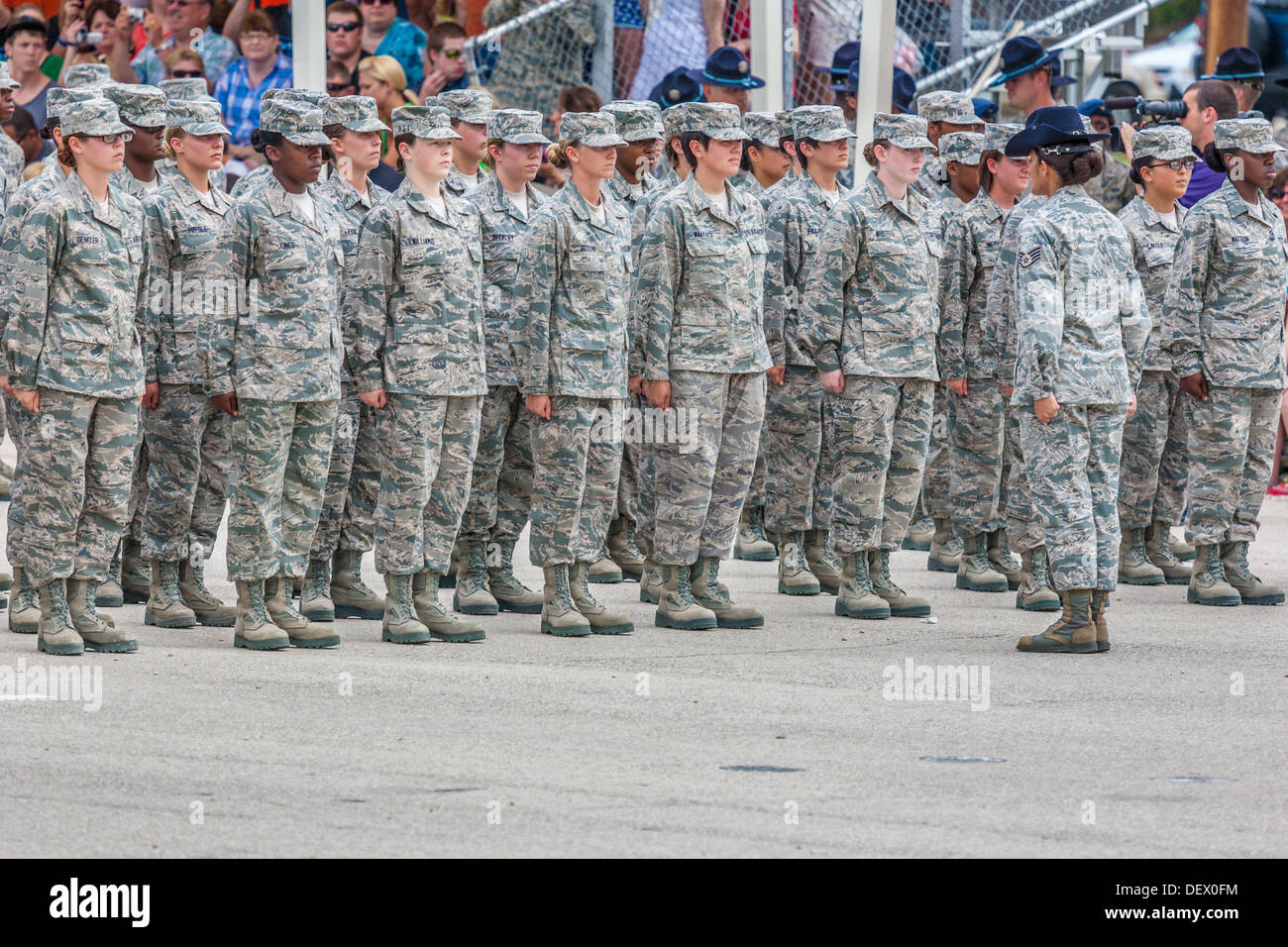 Flight Of Female Airmen At Attention In Formation During