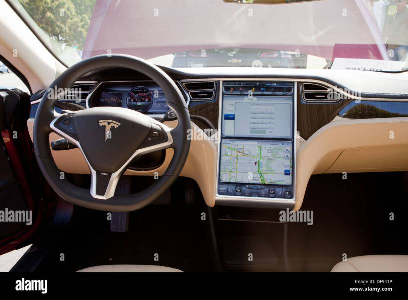 Tesla Model S electric car interior Stock Photo  61051698   Alamy Tesla Model S electric car interior